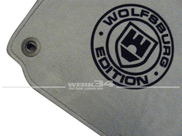 """Fußmatten Set, passend für Golf V, grau - grau, Logo """"WOB"""" in schwarz"""