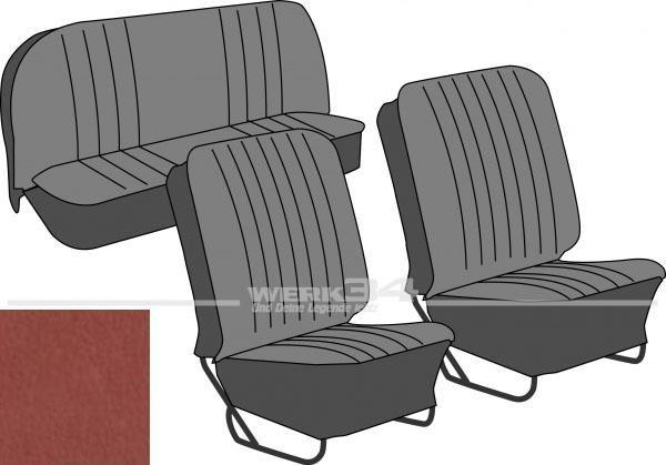 Satz Sitzbezüge, Käfer Limousine, 57-64, Classic, ziegelrot