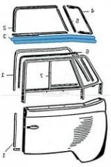 3. Dichtung zwischen Tür und Fensterrahmen Bus T1, links