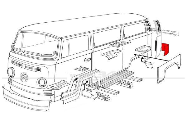Reparaturblech Ecke hinten links, passend für Modelle von 08/67-07/71