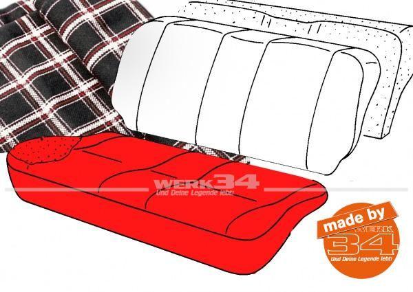 Bezug für Sitzfläche Rücksitzbank, Schottenkaro schwarz/weiß, 2-türer