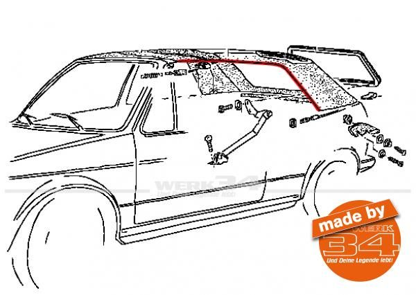 Paar Spannseile seitlich, passend für Golf I Cabrio bis 07/85 + Käfer Cabrio + Karmann Ghia Cabrio