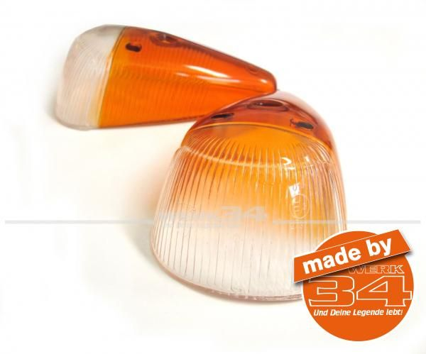Paar Blinkergläser, Italien Version Käfer 10/63-07/74 (breite Auführung auf dem Kotflügel)