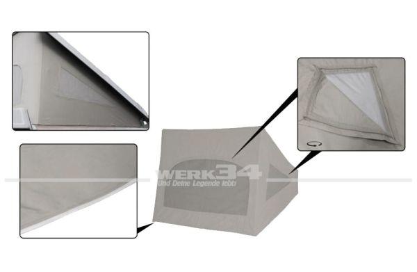 Zelt für Westfalia Hubdach / Klappdach, grau, passend für Modelle von 08/79-07/85