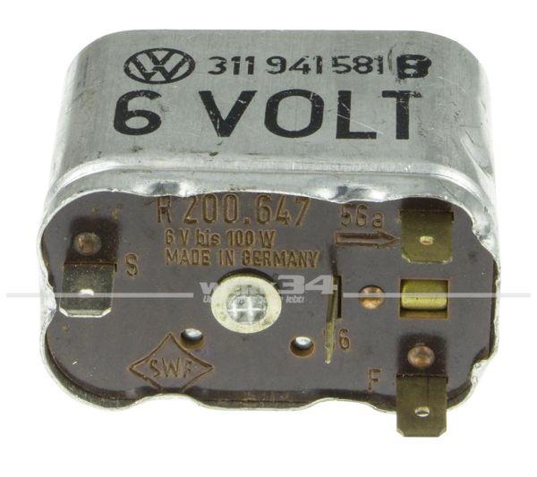 6 Volt Relais für Abblendlicht OHNE Lichthupe passend von 08/64-07/69