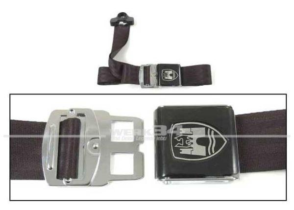 Dreipunkt Statikgurt passend für vorn oder hinten im 60er Jahre Design, Ohne EU-Zulassung, schwarz