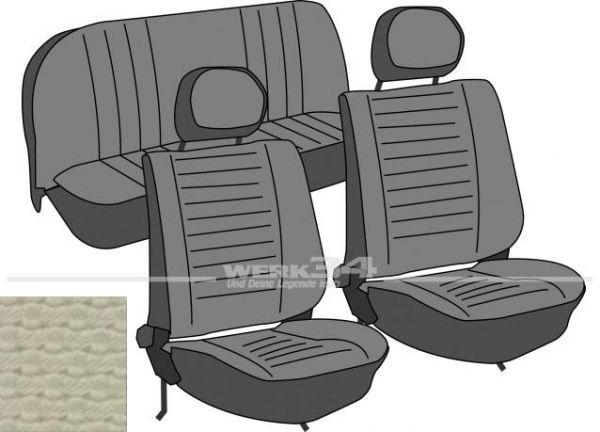 Satz Sitzbezüge, Käfer Limousine, 75-, Korbmuster, altweiß