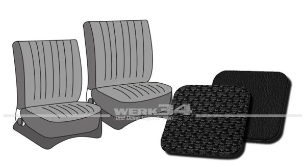 Sitzbezüge vorne, passend für Typ 3, Bj. 1965-72, Korbmuster schwarz