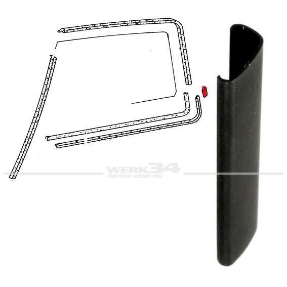 Muffe / Verbinder zwischen Aussenschachtdichtung und Fensterführung hinten, schwarz