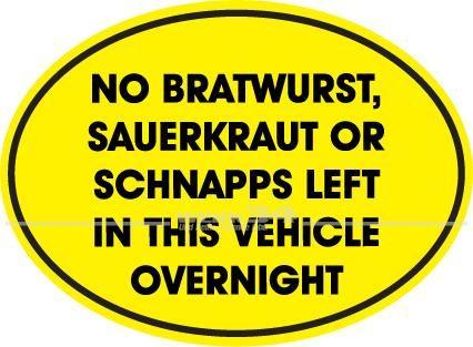 "Aufkleber ""Bratwurst, Sauerkraut, Schnapps"""