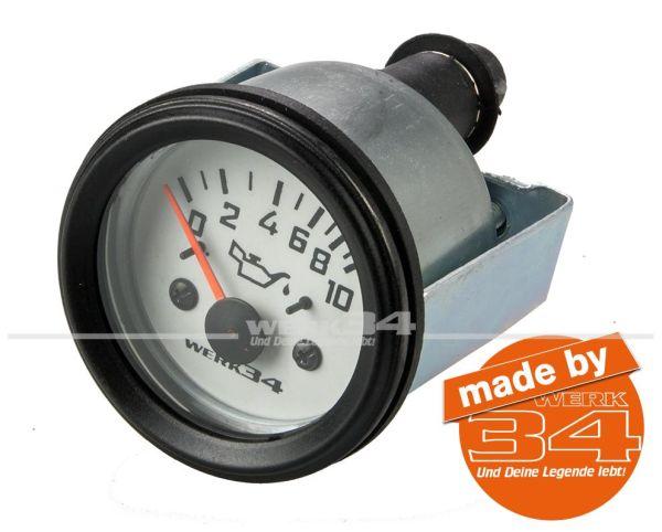 Zusatzinstrument, Öldruck, weiß, Ø52mm