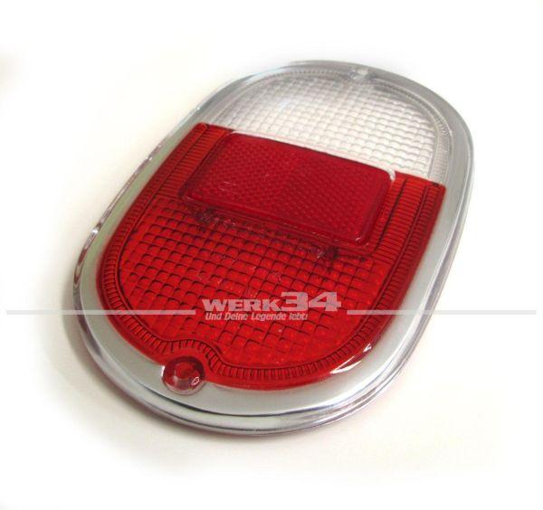 Glas für Rückleuchte, rot/weiß mit Chromrand, Bus T1 und T2 Bj 08/61-07/71