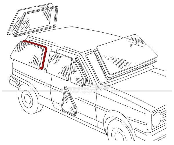 Seitenscheibendichtung ohne Nut, rechts, passend für Polo II + III Steilheck