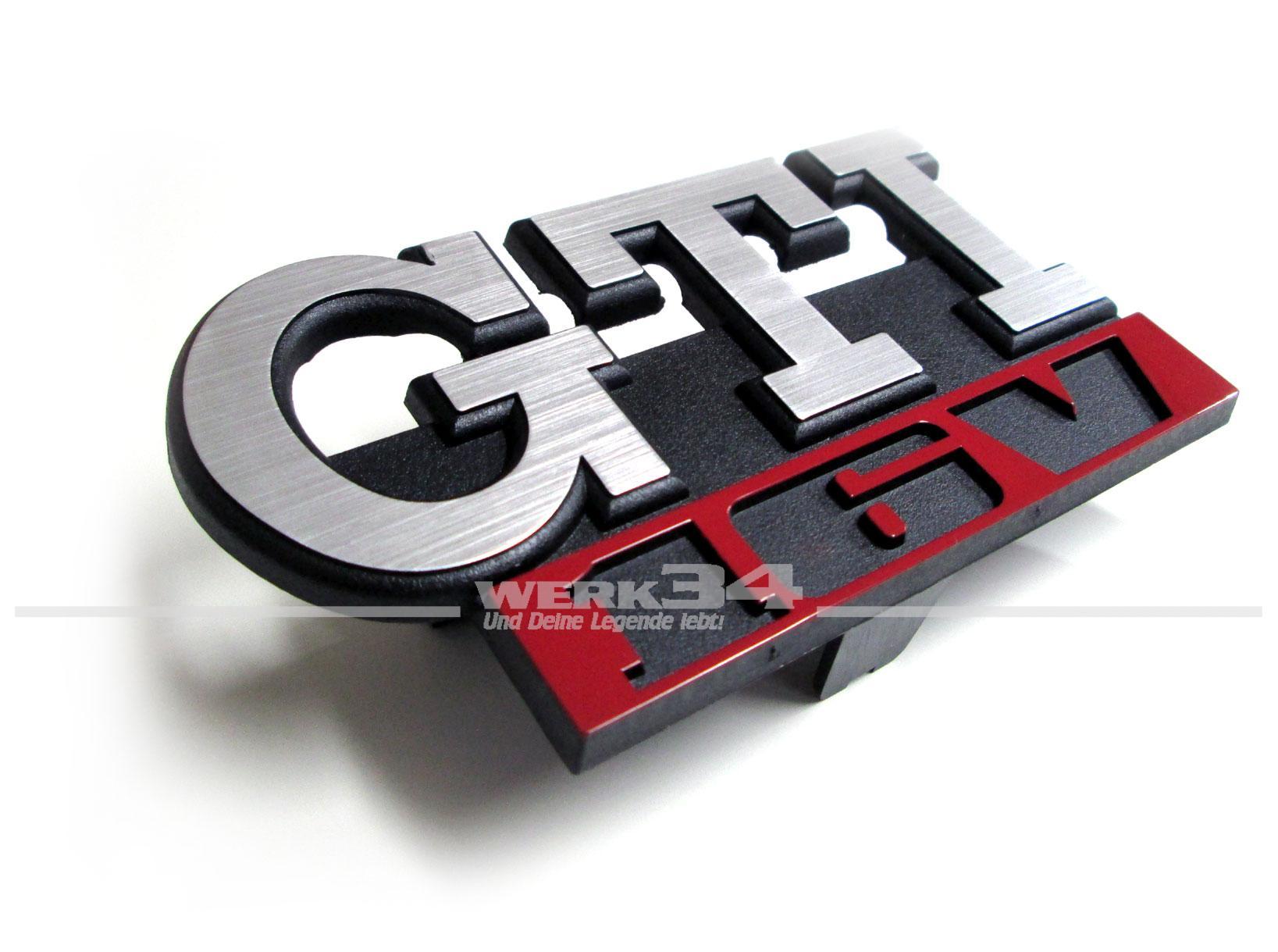 schriftzug emblem gti 16v f r k hlergrill golf ii. Black Bedroom Furniture Sets. Home Design Ideas