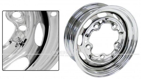 Stahlfelge, verchromt, 5,5 x 15, ET 15, 356-Style, 5x205 Lochkreis