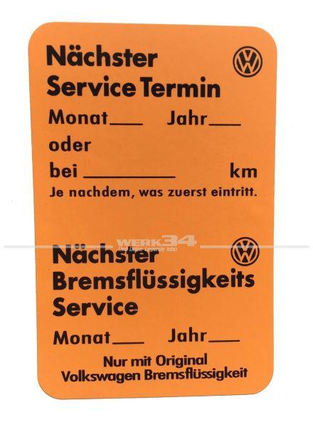 Volkswagen Service Aufkleber, orange