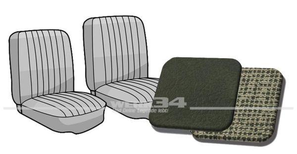 Sitzbezug Einzelsitze vorne Bus '63-'67 dunkelgrau/gittergrau