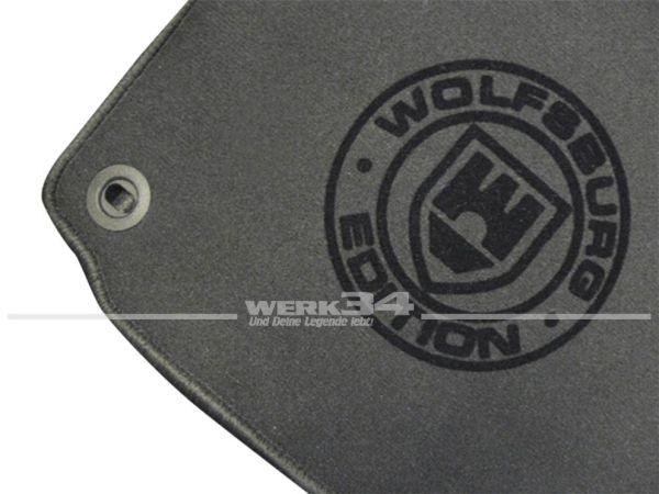"""Fußmatten Set, passend für Golf V, dunkelgrau - dunkelgrau, Logo """"WOB"""" in schwarz"""