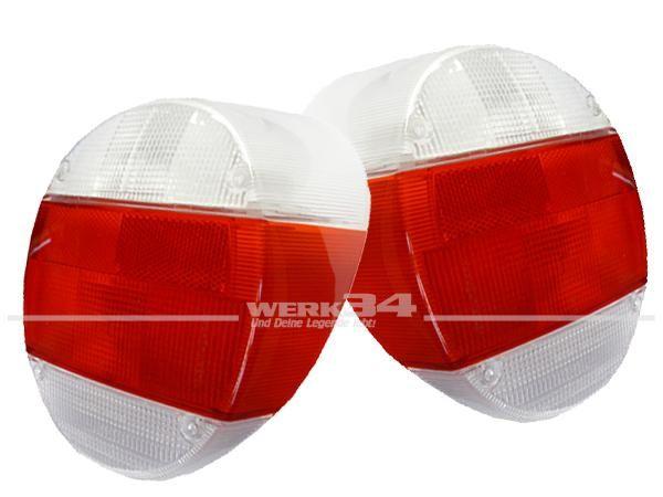 Rückleuchtengläser Hella passend ab Bj 08/72, weiß-rot-weiß, Paar