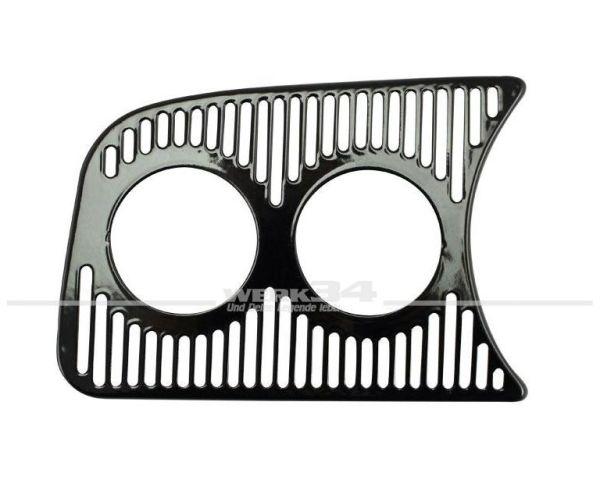 Armaturenbrettziergitter, links, 2 Löcher 52 mm, schwarz