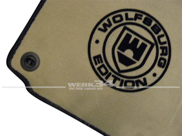 """Fußmatten Set, passend für Golf V, beige - schwarz, Logo """"WOB"""" in schwarz"""
