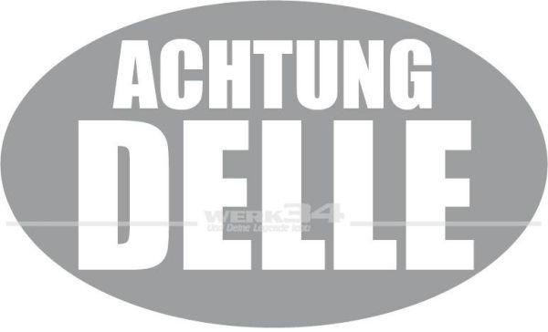 "Aufkleber ""Achtung Delle"", silber"