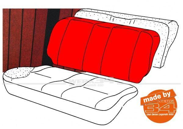 Bezug für Sitzlehne Rücksitzbank, gestreift schwarz/rot, Golf I