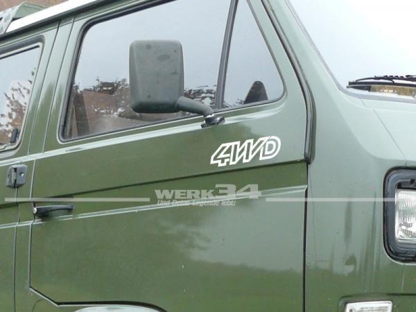 Aufkleber Set 4WD für Bus T3, weiß