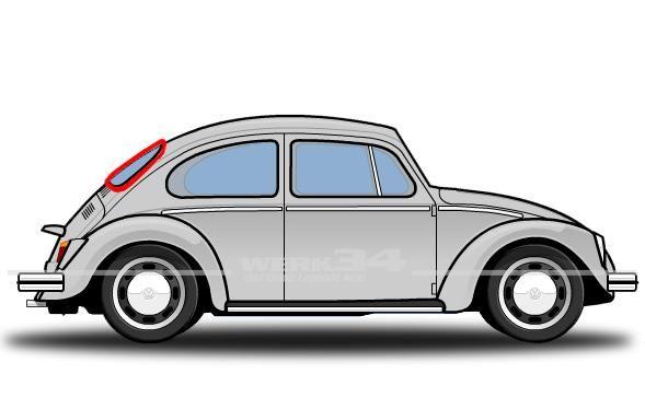 Heckscheibendichtung mit Nut für Metallzierleiste, passend für Modelle von 03/53-07/57 Käfer,Aufbau,Dichtungen