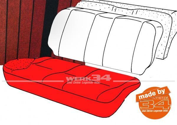 Bezug für Sitzfläche Rücksitzbank, gestreift schwarz/rot, 2-türer