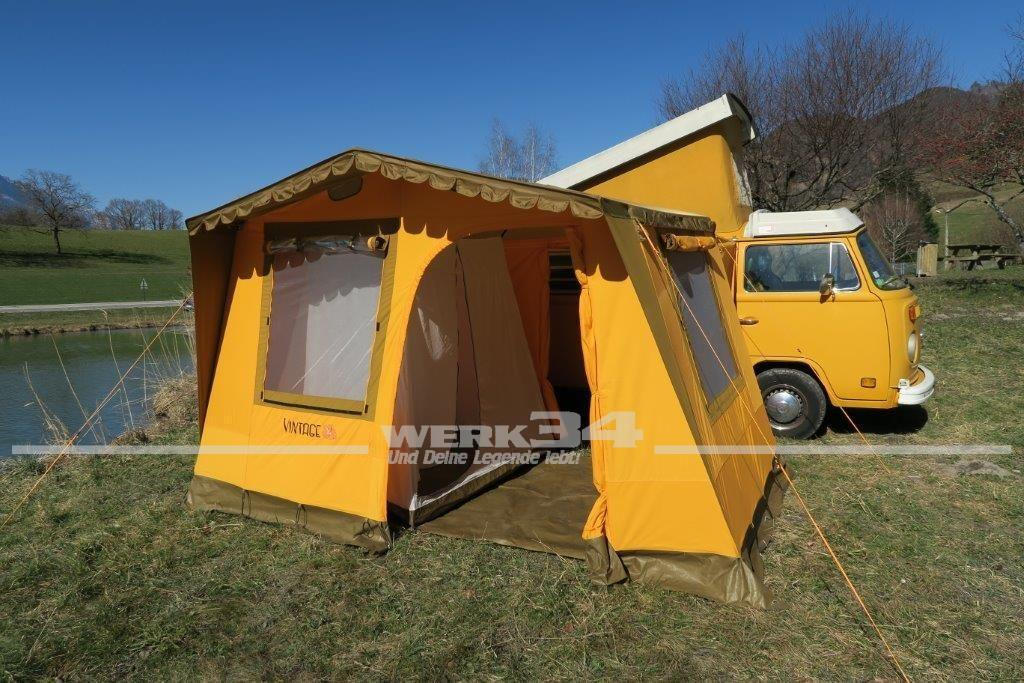 vintage vorzelt freistehend gelb passend z b f r bus t2 zelte camping und wohnmobil bus. Black Bedroom Furniture Sets. Home Design Ideas