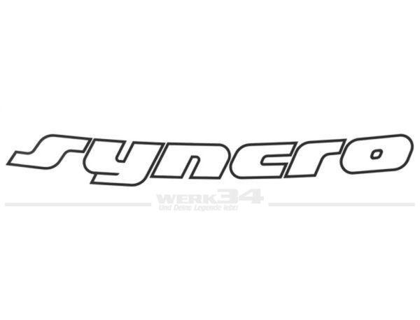 """Aufkleber """"Syncro"""", schwarz, für Motorhaube, passend für Bus T4"""