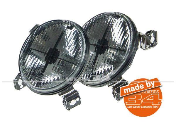 Zusatzscheinwerfer schwarz mit Fadenkreuz, passend für Golf I + Golf II