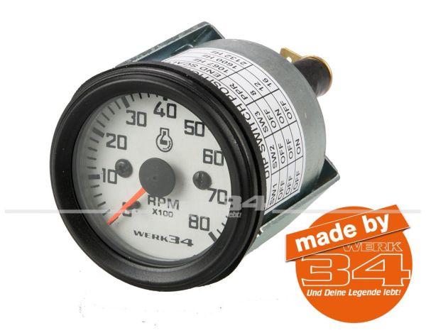 Zusatzinstrument, Drehzahlmesser, 8000U/min, weiß, Ø52mm