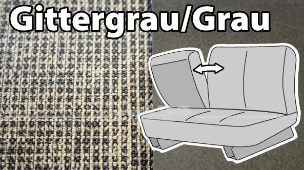 """Sitzbezüge für Mittelbank, 3-Sitzer, mit Klappenlehne """"Gittergrau/Grau"""" 64-67"""