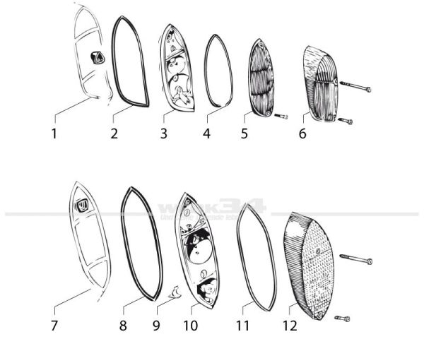 Nr. 6) Rücklichtglas, in der Farbe rot, passend für Bj 08/63 bis 07/69