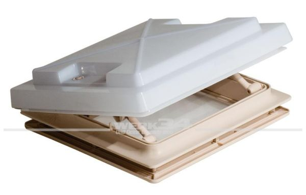 Dachhaube mit Moskitonetz 280 x 280 mm Opalglas, Rahmenfarbe: beige