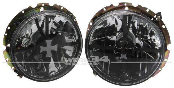 """""""Iron Cross""""-Scheinwerfer mit Kreuz, passend für Golf I, Caddy I, Käfer (ab Bj. 74), Bus T2 und Bus T3"""
