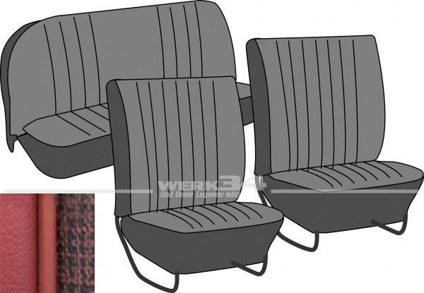 Satz Sitzbezüge, Käfer Limousine, 64-67, Meshmuster, rot