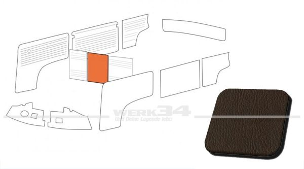 Verkleidung Trennwand ohne Durchgang, braun, passend für T2 Bus 08/68-07/76 Mittelteil