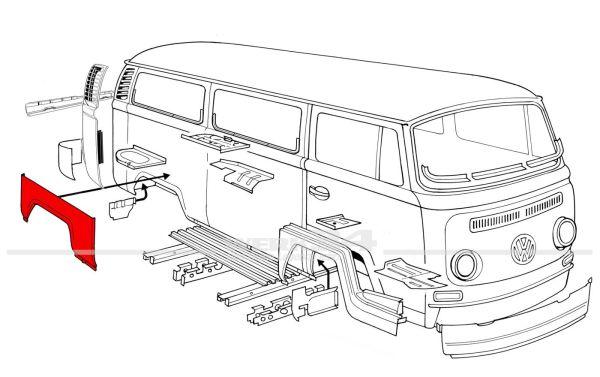 Radlauf hinten rechts, passend für Modelle von 08/67-07/70