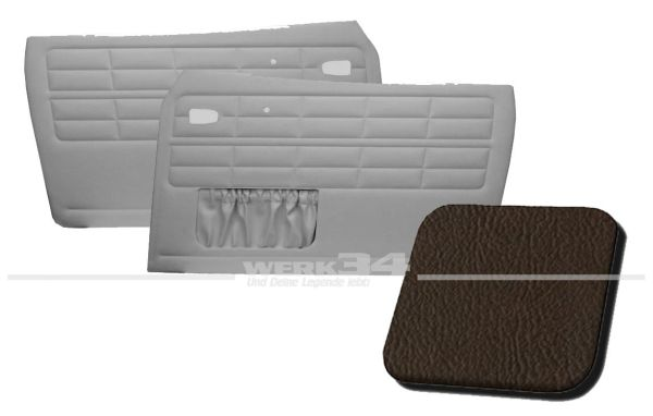 Türverkleidung braun, mit Kartentasche, passend für Karmann Ghia Typ 14, Bj. 1964-74