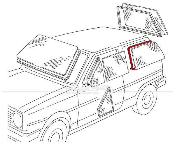Seitenscheibendichtung ohne Nut, links, passend für Polo II + III Steilheck