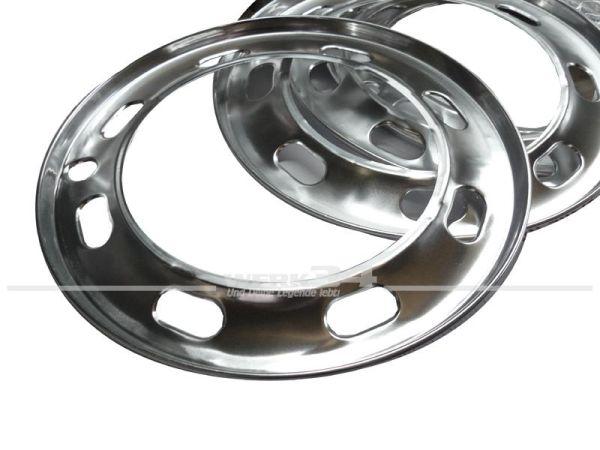 4-teiliger Satz Radzierringe aus Aluminium, Lochdesign, passend für Käfer, Karmann Ghia und Typ3 mit Radkappenfelgen (ab Bj. 08/72)