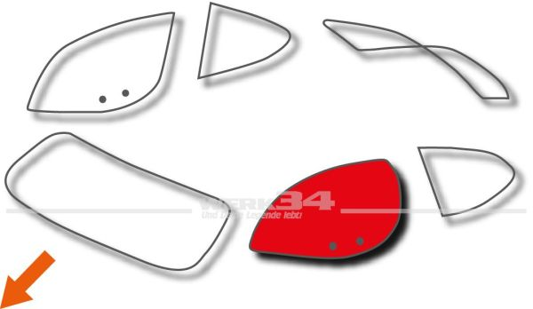 Türscheibe links passend für Coupe, gebraucht Karmann,Scheiben