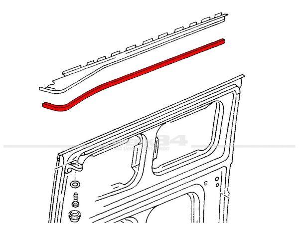 Abdeckprofil für Laufschiene oberhalb der Schiebetür, weiß, passend für Bus T3