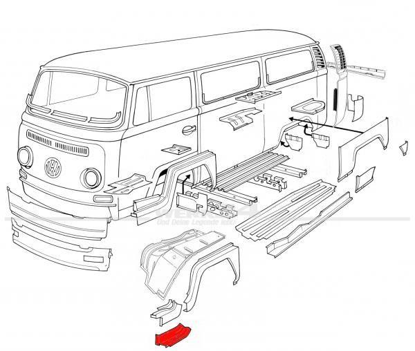 Reparaturblech für die Trittstufe vorn links, passend von 1969-07/72