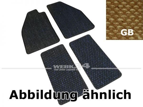 Fußmattensatz Kokos, 4-teilig, für Käfer ab Bj 08/72, GB gelb / beige