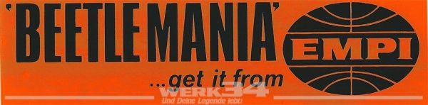 Aufkleber Beetlemania, spiegelverkehrt (von Innen aufkleben), orange/schwarz