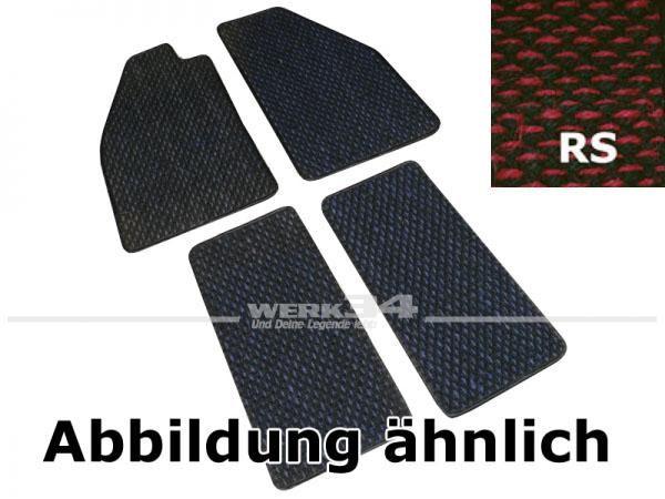 Fußmattensatz Kokos, 4-teilig, für Käfer ab Bj 08/72, RS rot / schwarz